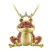 DB Designs Gold over Silver Diamond Accent Frog Necklace