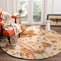 Safavieh Handmade Blossom Paradise Beige Wool Rug - 6' x 6' Round