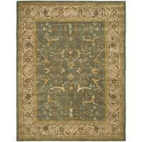 Safavieh Handmade Heritage Traditional Kashan Blue/ Beige Wool Rug - 5' x 8'