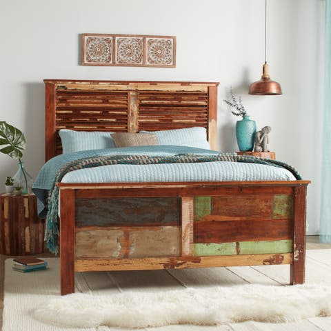 Handmade Reclaimed Wood Weathered Queen Bed (India)