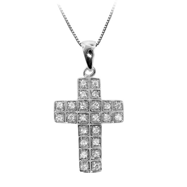 Sterling Silver Clear Cubic Zirconia Medium Cross Necklace