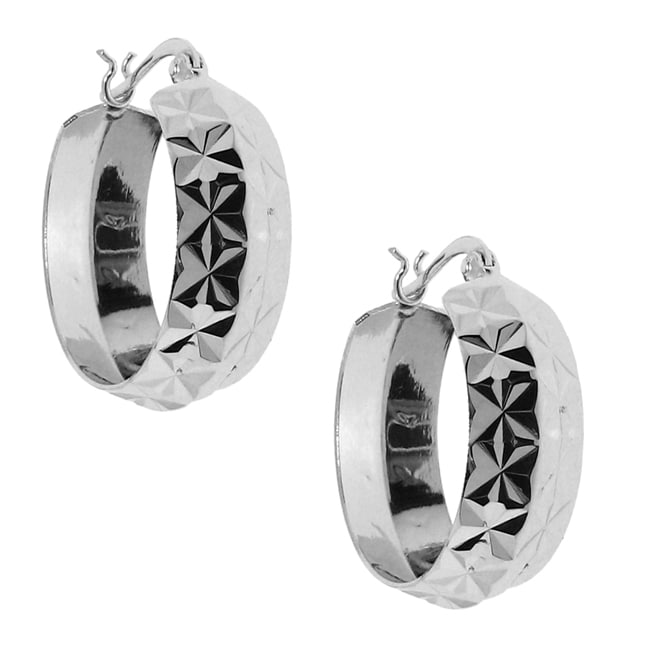 Sterling Silver Diamond-cut Hoop Earrings