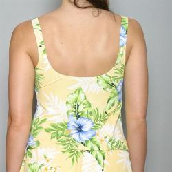 Jantzen Women's Yellow Hibiscus Flower Tankini Top (Size 10)