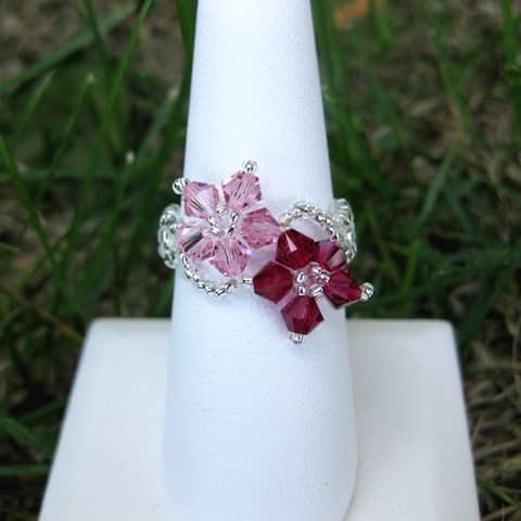 Handmade Pink/Dark-pink Crystal/Seed-bead Floral Ring (USA)