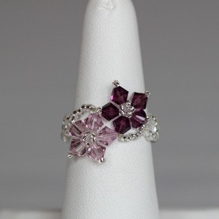 Pink/Dark-pink Crystal/Seed-bead Floral Ring (USA)