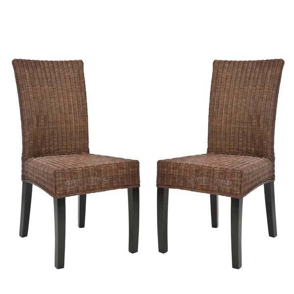 Safavieh Rural Woven Dining St. Croix Wicker Colonial Brown Dining Chairs (Set of 2)
