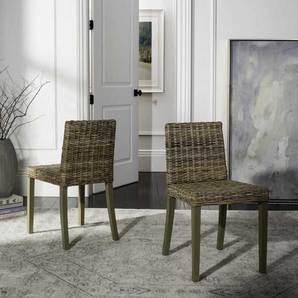 Safavieh Rural Woven Dining St. Croix Chic Wicker Grey Dining Chairs (Set of 2)