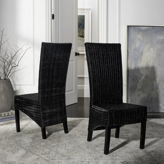 Safavieh Rural Woven Dining St. Croix Wicker Black High Back Side Chairs (Set of 2)