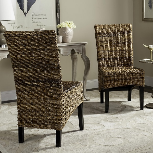 Safavieh Woven Wicker Dining St. Croix Natural Tan Side Chairs (Set of 2)