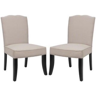 Safavieh En Vogue Dining Toulon Tan Linen Dining Chairs (Set of 2)