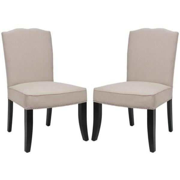 Safavieh En Vogue Dining Toulon Tan Linen Side Chairs (Set of 2)