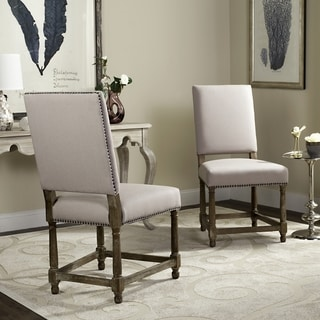 Safavieh Old World Dining Bexley Beige Linen Nailhead Dining Chairs (Set of 2)