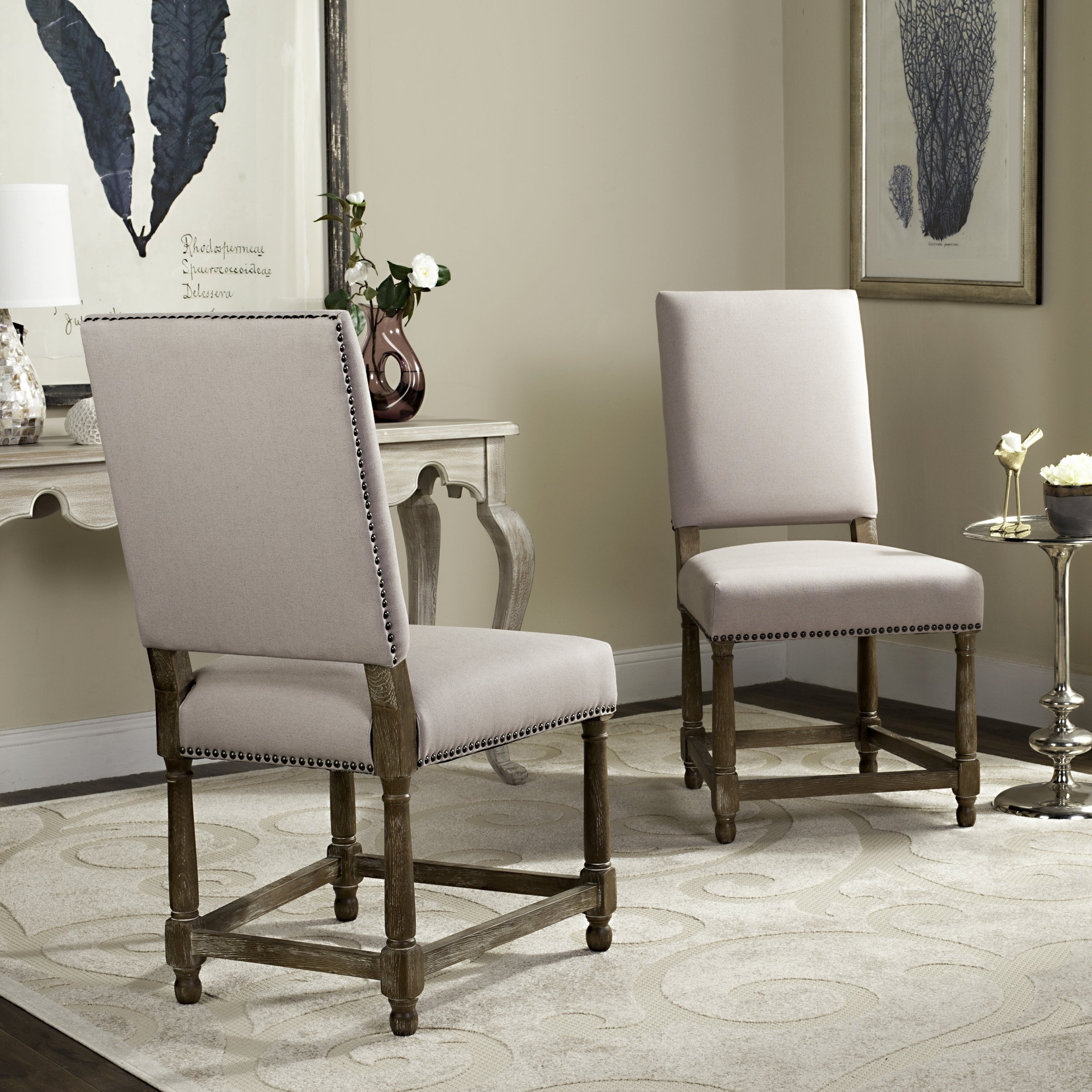 Outstanding Safavieh Old World Dining Bexley Beige Linen Nailhead Dining Chairs Set Of 2 Bralicious Painted Fabric Chair Ideas Braliciousco
