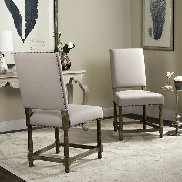 safavieh old world dining bexley beige linen nailhead side