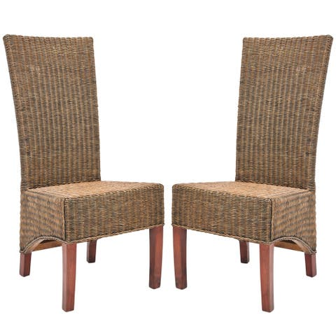 SAFAVIEH Dining Rural Woven St. Croix Honey Brown Wicker High Back Dining Chairs (Set of 2)