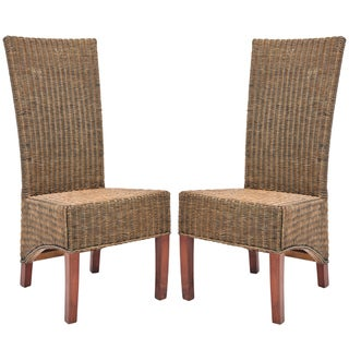 Safavieh Rural Woven Dining St. Criox Honey Brown Wicker High Back Dining Chairs (Set of 2)