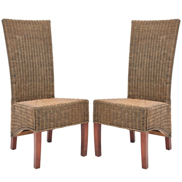 Marvelous Safavieh Rural Woven Dining St. Criox Honey Brown Wicker High Back Dining  Chairs (Set