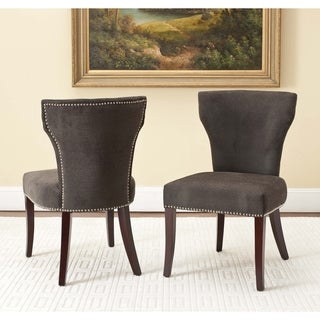 Safavieh En Vogue Dining Matty Chocolate Brown Nailhead Side Chairs (Set of 2)