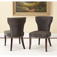 Safavieh En Vogue Dining Matty Dark Grey Nailhead Dining Chairs (Set of 2)