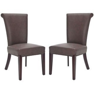 Safavieh En Vogue Dining Madison Brown Leather Dining Chairs (Set of 2)