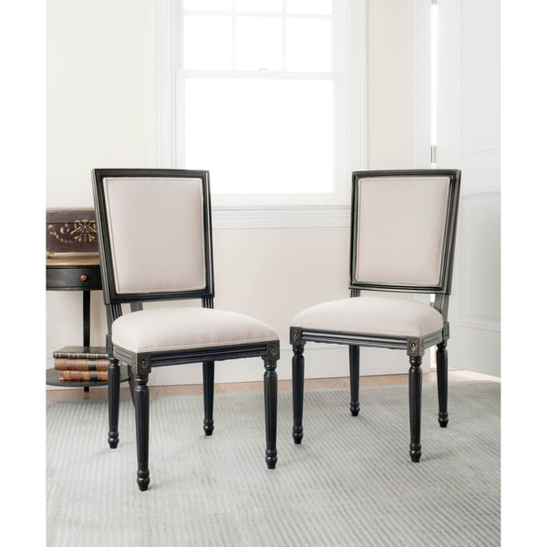 Safavieh Old World Dining Provincial Carved Mahogany Light Grey/ Black Dining Chairs (Set of 2)