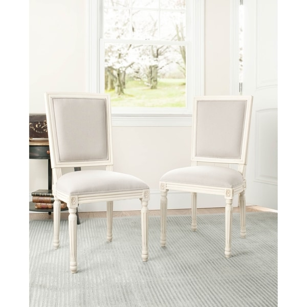 Safavieh Old World Dining Provincial Carved Mahogany Light Grey/ White Dining Chairs (Set of 2)