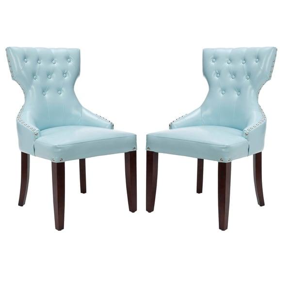 Safavieh En Vogue Dining Aqua Tufted Nailhead Blue Leather Dining