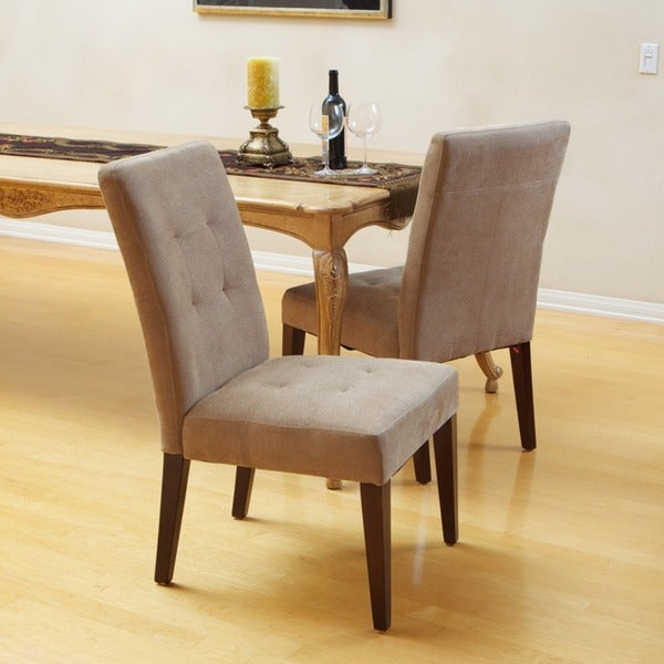 Set Of 2 Dining Room Furniture Tufted Brown Leather Dining: Shop Cambridge Tufted Light Brown Linen Dining Chair (Set