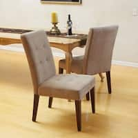 Cambridge Tufted Light Brown Linen Dining Chair (Set of 2) by Christopher Knight Home