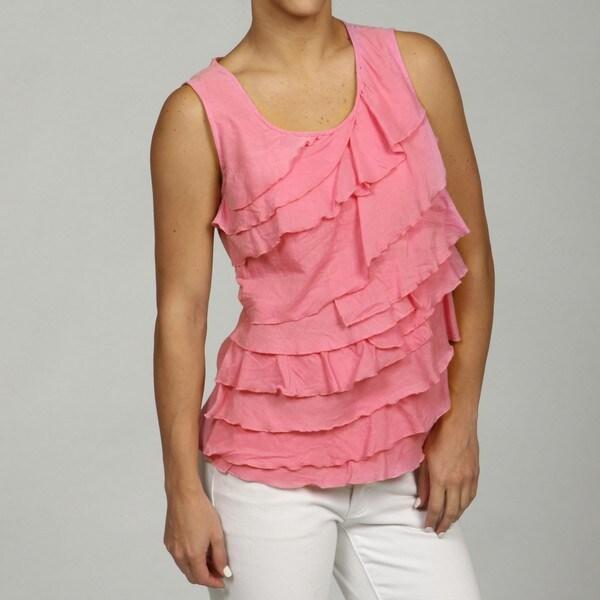 Jennifer & Grace Women's White Sleeveless Ruffle Top