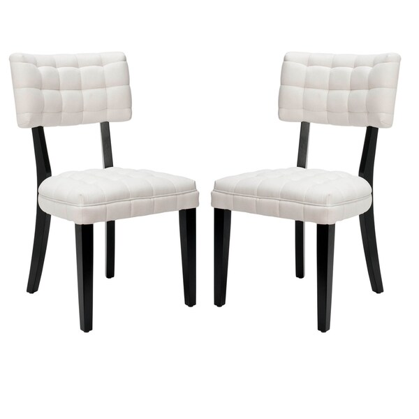 Safavieh En Vogue Dining Soho Tufted White Side Chairs Set