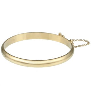 Sterling Essentials 14K Gold over Silver Polished Bangle Bracelet (7mm)