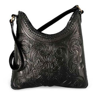 Nocturnal Classic Zipper Closure Inner Pocket Hand Tooled Black Polished Leather Womens Shoulder Bag (Mexico)
