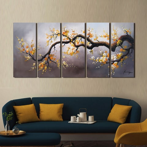 'Plum Blossom 315' Hand Painted 5-piece Gallery-wrapped Canvas Art Set