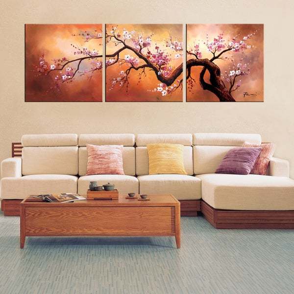 Hand-painted 'Plum Blossom 310' 3-piece Gallery-wrapped Canvas Art Set