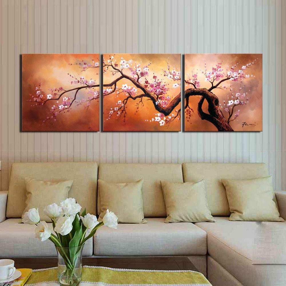 Plum Blossom 310 Hand Painted 3 Piece Gallery Wrapped Canvas Art Set