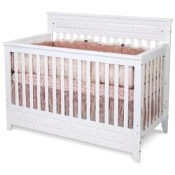 Matte White Logan Lifetime Convertible Crib