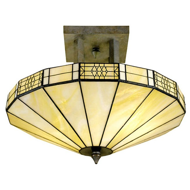 Tiffany-style 2-light Antique Bronze Hanging Lamp