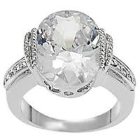 Journee Collection Silvertone Oval CZ Bridal and Engagement Ring