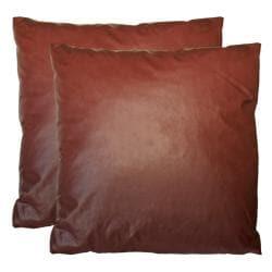 Faux Leather Square Decorative Pillows (Set of 2)
