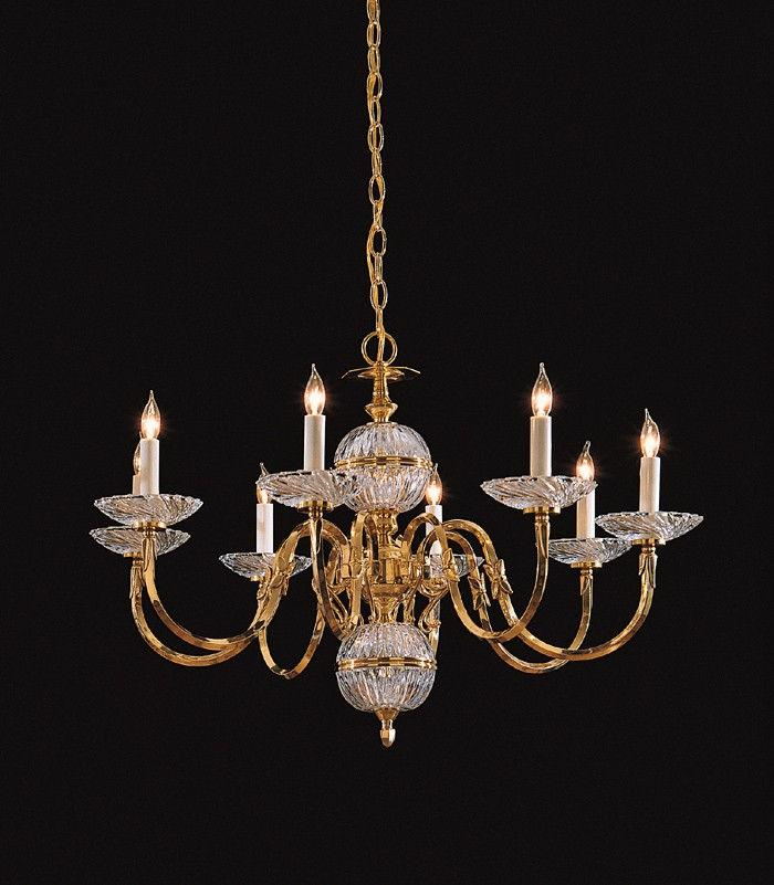 Polished Brass 8-light Crystal Chandelier - Thumbnail 0