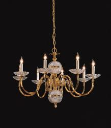 Polished Brass 8-light Crystal Chandelier - Thumbnail 1