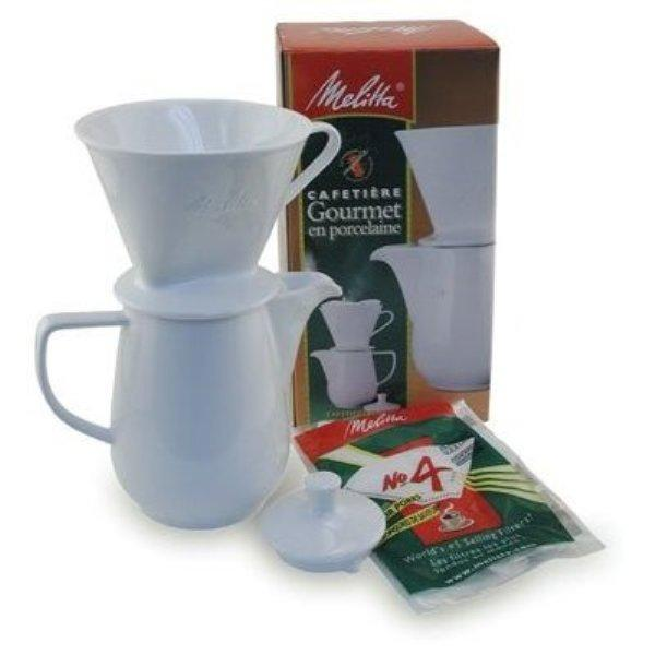Melitta pour over 6-cup manual brewing cone porcelain carafe pot.