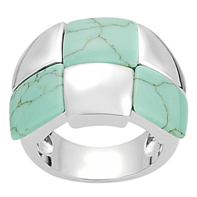 Silvertone Created Turquoise Checkered Ring