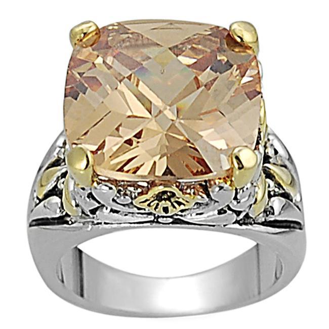 Two-tone Cushion-cut Orange Cubic Zirconia Ring