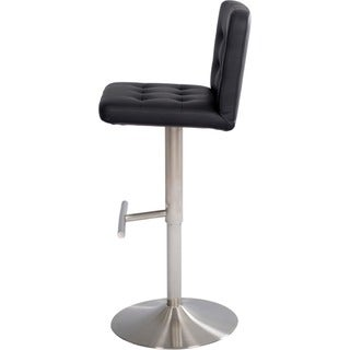 Brushed Stainless Steel Adjustable Height Swivel Tufted Bar Stool