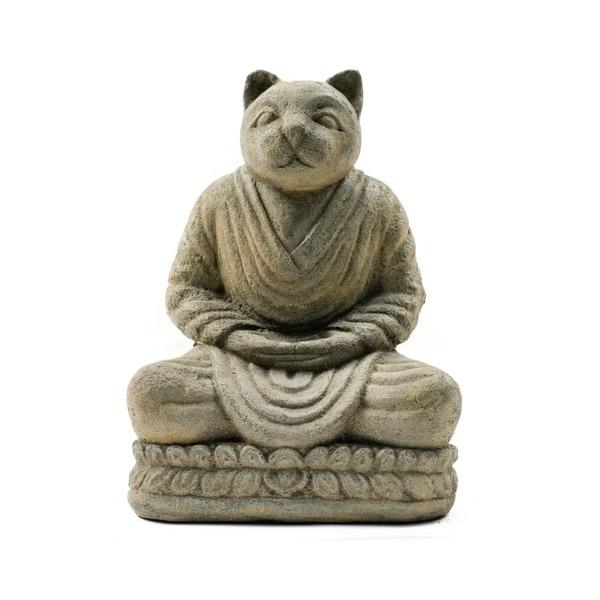 Handmade Buddha Cat Namaste Statue (Indonesia)