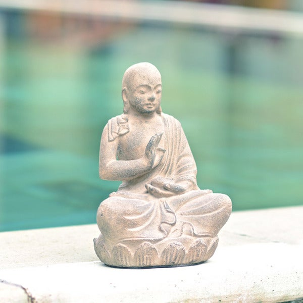 Handmade Volcanic Ash Buddha on Lotus Sitting Statue (Indonesia)