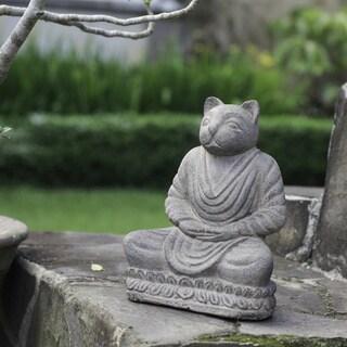 Handmade Volcanic Ash Stone-washed Cat Namaste Statue (Indonesia)