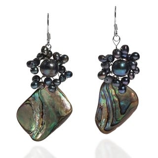 Handmade Sterling Silver Abalone and Black Pearls Earrings (Thailand)
